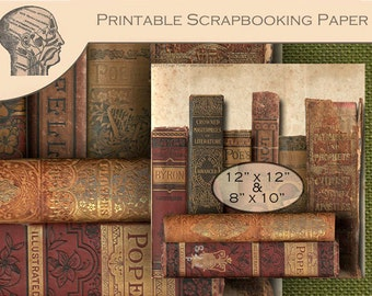 Printable Digital Scrapbooking Paper Antique Poetry Books Desktop Background Steampunk Old Book Binding Graphics