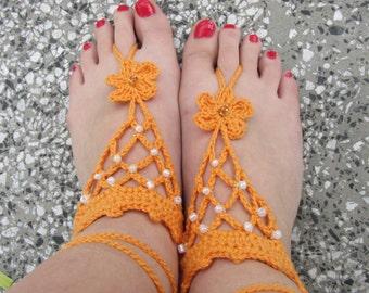 Lovely crocheted Giza cotton yarn barefoot sandals in orange