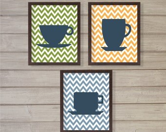 Tea Cups Print - Set of 3 - Chevron - 8x10 - Mug, Tea Time, Tea Pot, Kitchen Decor, Wall Art, Instant Download, Digital Printable Poster