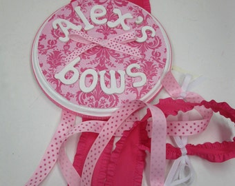 Pink on Pink Damask Bow Holder with Curled Ribbon