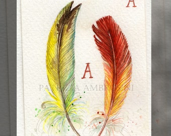 ACEO Original Ace of feathers  Collectible miniature handpainted....watercolour card
