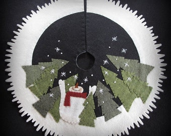 Let it Snow Tabletop Tree Skirt PRINTED PATTERN by cheswickcompany
