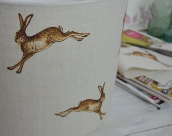 Handmade Hares Linen Lampshade