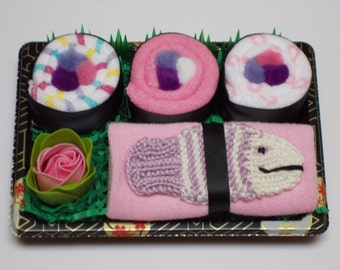 Baby Girl Sushi Gift - Baby Washcloth Shower Gift - Purple Fish Bath Scrubby