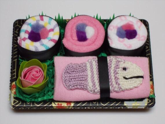 Baby Girl Sushi Gift - Baby Washcloth Shower Gift - Purple Fish Bath Scrubby