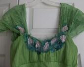HuGE Sale!GREEN FAIRYLOVE DRESS upcyled silk dress with leaf petals apliques etc sz  xs sz 0 / 2 usa