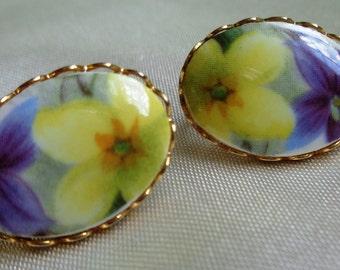 vintage Earrings clip costume jewelry yellow purple flowers enamel gold rimmed