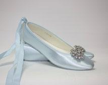 Wedding Shoes - Ballet Flats - Blue Shoes- Choose Over 100 Colors - Wedding Flat - Bridal Flat - Wedding Slippers - Bespoke Shoes - Parisxox