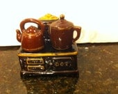 Vintage Cook Stove with Salt and Pepper Teapots