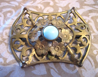 Art Nouveau Gold Gilt Pin or Brooch with Light Blue Cabochon Stone