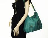 Eden. teal green leather handbag messenger bag leather purse cross-body bag