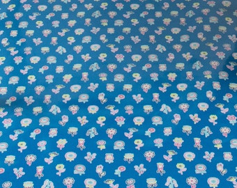 "LAMINATED Cotton  - Blue Flower Lollipop,  56"" Wide, BPA & PVC Free"