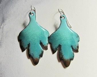 Fall enamel leaf earrings Autumn bohemian jewelry Turquoise dangle earrings Aqua teal brown earrings Enameled copper jewelry