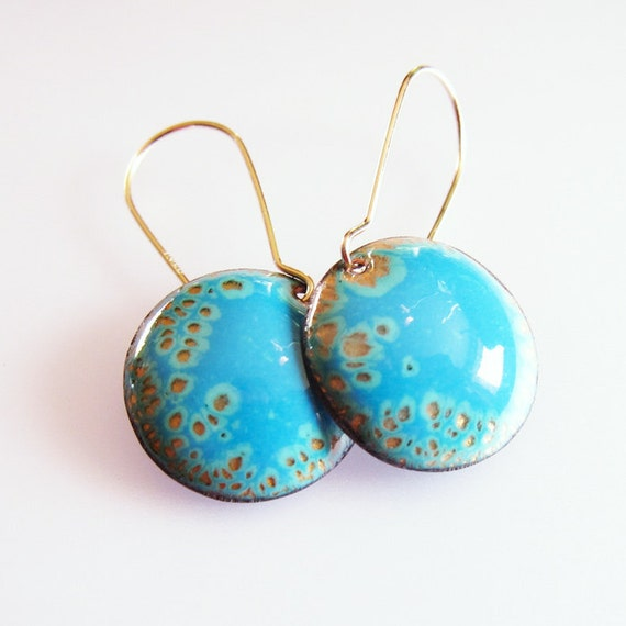 Small Blue Earrings: Blue Enamel Drop Earrings Gold Kidney Wires Small By