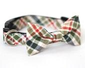LAST ONE Seersucker Plaid Green, Bow Tie Dog and Cat Collar Bow Tie Dog Wedding- Dog Collar