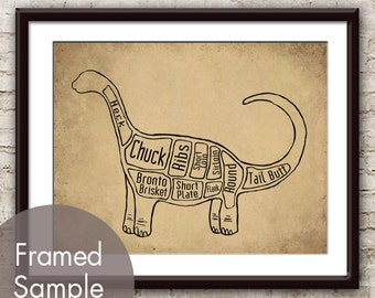 Brontosaurus, Dinosaur Butcher Diagram Series- Art Print (Featured in Cork Board w Black) Customizable Colors (Buy 3 and get One Free)