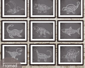 Dinosaur Butcher Art Collection - Set of 9 - Art Print (Featured in Charcoal) (Customizable Colors)