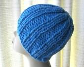 Super Warm, SOFT Chunky Beanie Ski Hat Hand Knit in Sky Blue Wool blend
