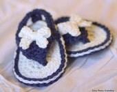 Crochet pattern- baby flip flop, bow, sandal, beach, baby shoe, PDF format