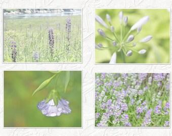 Set of 4-Wall Canvas-Nature Photography-Green & Purple Wall Art-Floral Art-Flower Art-Fine Art-Photography Set-Canvas Art Set-Bathroom Art