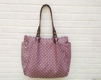 Purple dots tote  with leahter handles