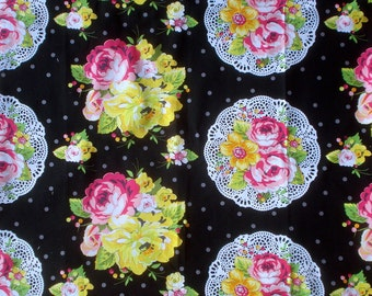 Super SALE  : Summer Soiree nosegay black Paula Prass fabric Fat Quarter or more Oop Vhtf