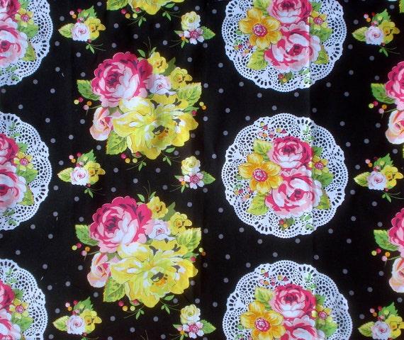 SALE  : Summer Soiree nosegay black Paula Prass fabric Fat Quarter or more Oop Vhtf