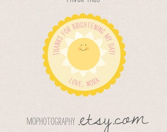 You are my sunshine - 3x3 Favor Tag  - Digital File