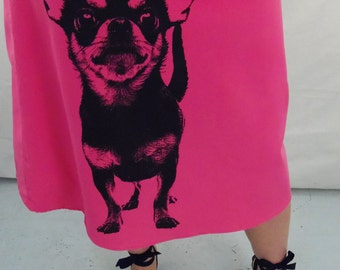 Chihuahua Print on Hot Pink Corduroy Aline Cotton Skirt