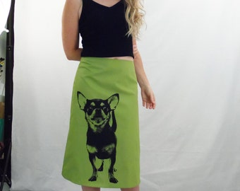 Chihuahua Print Skirt - Aline Cotton Skirt - Silk Screen Printed to Order