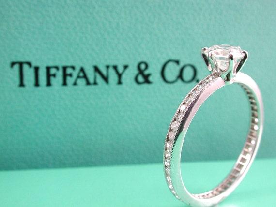 RESERVED for Beau - Tiffany Eternity Engagement Ring - Designer Platinum Diamond Eternity Engagement Ring