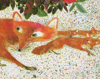 A skulk of foxes print by Brian Wildsmith, woodland nursery decor, fox print