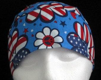 Handmade Red, White and Blue Flowers Chemo Cap or Skull Cap, Do Rag, Biker, Motorcycle, Helmet Liner, Bald, Hair Loss, Alopecia, July 4th