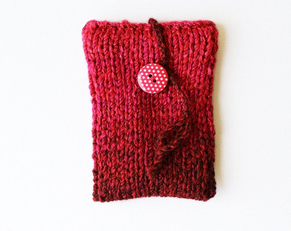 Cherry Red Phone Sock or iPod Sleeve Case - fits iPhone 5, iPhone 4, iPhone 4S, iPhone 3GS and iPod Touch