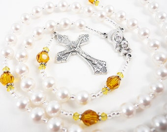 November Topaz and Citrine Birthstone Personalized Rosary - Baptism, First Communion, Confirmation