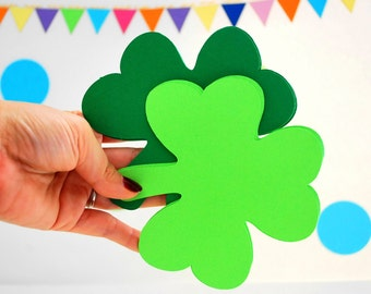 16 Shamrock die cuts in two colors (5 inches) in texture cardstock  A897