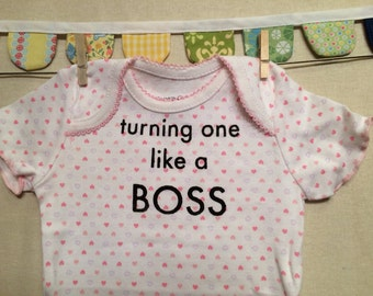 turning one like a boss --- pink patterned bodysuit, size 12 months