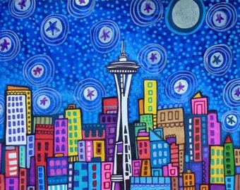 60% Off- Seattle art Art Print Poster by Heather Galler (HG827)