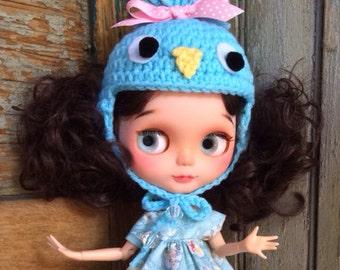 Little Blue Bird Beanie Hat for Blythe Doll