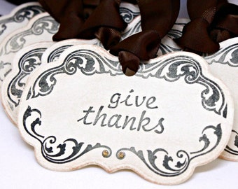 Vintage Inspired Thanksgiving Tags (Double Layered) - Give Thanks - Thanksgiving Napkin Rings Thanksgiving Place Setting (Set of 8)