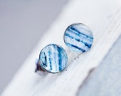 Twilight Blue Waters Abstract Photo Post Earrings