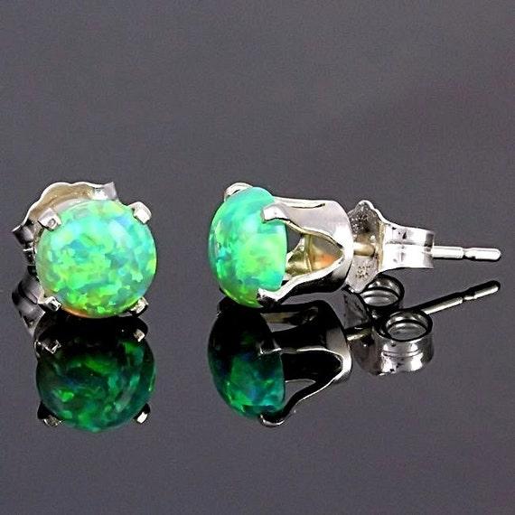6mm Kiwi Green Opal Cabochon Crown Set Stud Earrings, 925 Sterling Silver, Green Opal Cab Earrings, Gemstone Earrings, Green Opal Studs