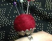 Adorable pincushion ring both fashionable and functional!