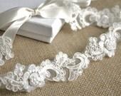 Bridal Heaband Ivory, Lace Heandband, Tie on Wedding Hair Piece, Wedding Heandband, Bridal Tiara