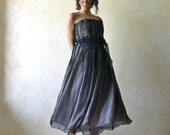 PROM dress, Black dress, Evening dress, Tea length dress, Formal dress, Posh dress, Silk dress, Strapless dress, 50's dress, Party dress
