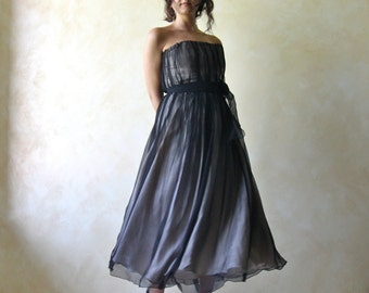Alternative wedding dress, Black wedding dress, Evening dress, Tea length dress, Mother of the bride dress, Black dress, Goth wedding dress