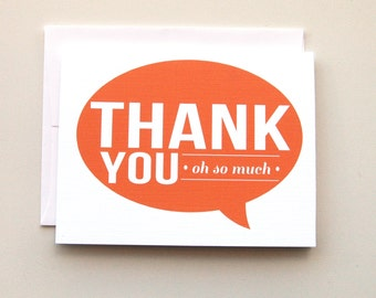 Thank You  Oh so Much Card - Set of 6