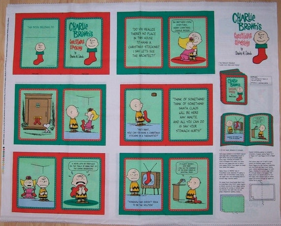 A Wonderful Peanuts Charlie Brown Christmas Stocking Soft Book Fabric Panel Free US Shipping