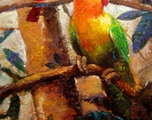 Little red friend. - 18in x 30in Oil on canvas tropical birds painting.