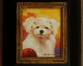 Kelly. 10in x 8in (canvas) Framed (22in x 17in) puppy oil painting on canvas.